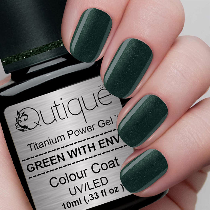Gel Nail Polish -Green With Envy (emerald green shimmer) | Qutique
