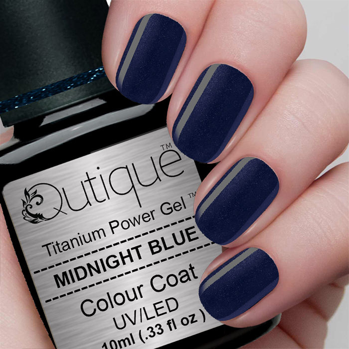 Gel Nail Polish -Midnight Blue (dark navy blue shimmer) | Qutique