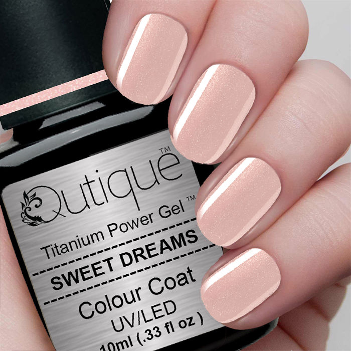 Gel Nail Polish Sweet Dreams Pale Pink Glitter Qutique